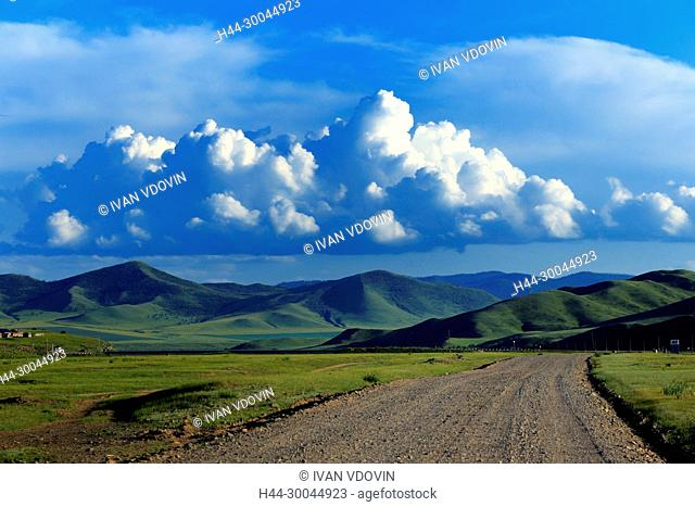 Road in steppe, Orkhon river, Bulgan province, Mongolia