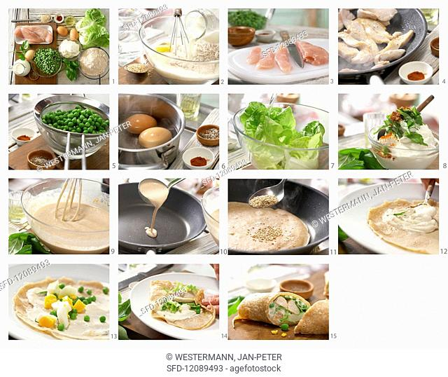 Pancake wraps with chicken, peas, egg, lettuce and sesame seeds being made