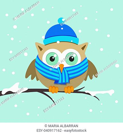 Male owl with scarf on a winter day. Vector illustration