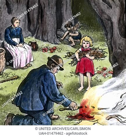 Brothers Grimm - Fairy Tales - Hansel and Gretel. Image date circa 1910. Carl Simon Archive