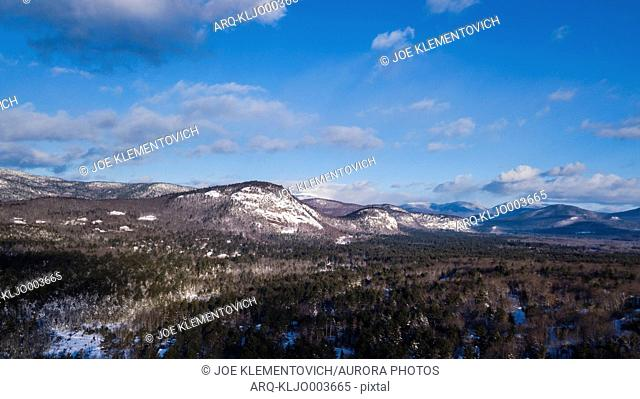 Majestic natural scenery of Whitehorse Ledge and Cathedral Ledge in winter, Conway, New Hampshire, USA