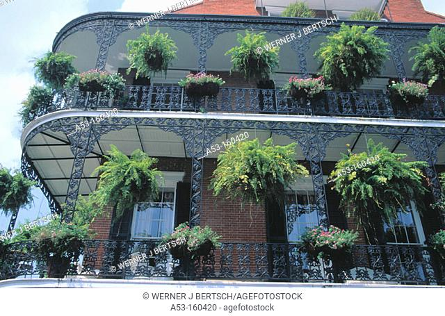 Iron lace balconies. French quarter. New Orleans. Louisiana. USA