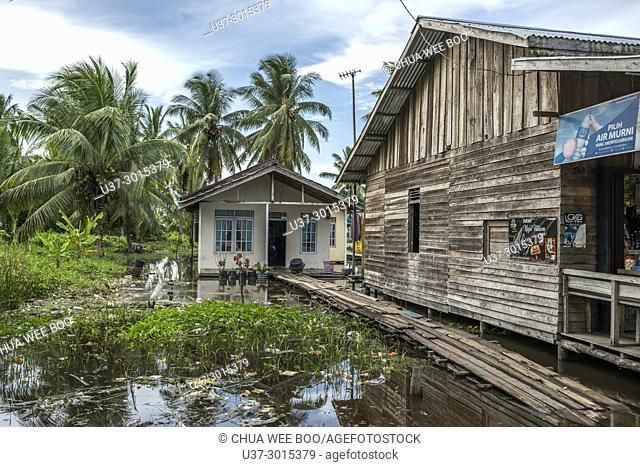 King tide in Kampung Sei Kakap, Pontianak, West Kalimantan, Indonesia