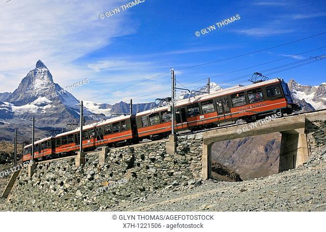 Gornergratbahn with the Matterhorn mountain behind, Switzerland
