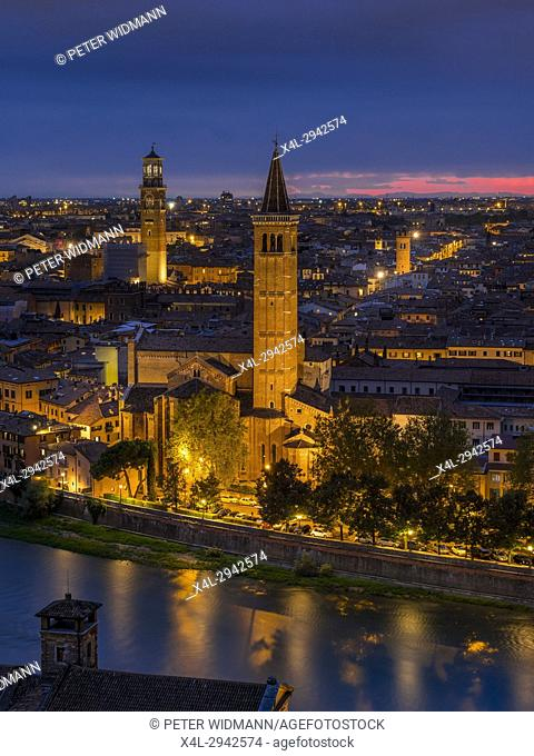 City view of Verona by night with the church of Santa Anastasia and Torre dei Lamberti at night, Veneto, Italy, Europe