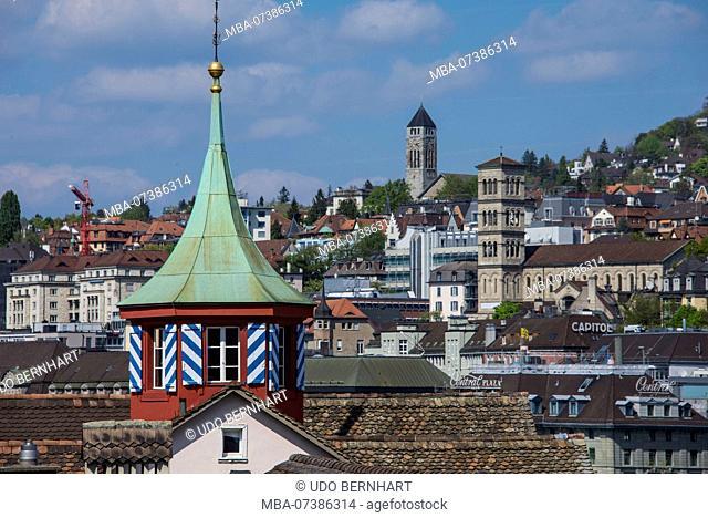 View from the Lindenhof square on Liebfrauenkirche and tower of the Pauluskirche, district Quartier Oberstrass, Zurich, canton Zurich, Switzerland