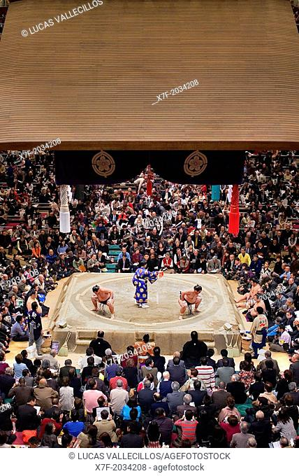 Sumo tournament in Ryogoku kokugikan stadium,Tokyo city, Japan