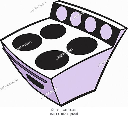 A cartoon drawing of a stove