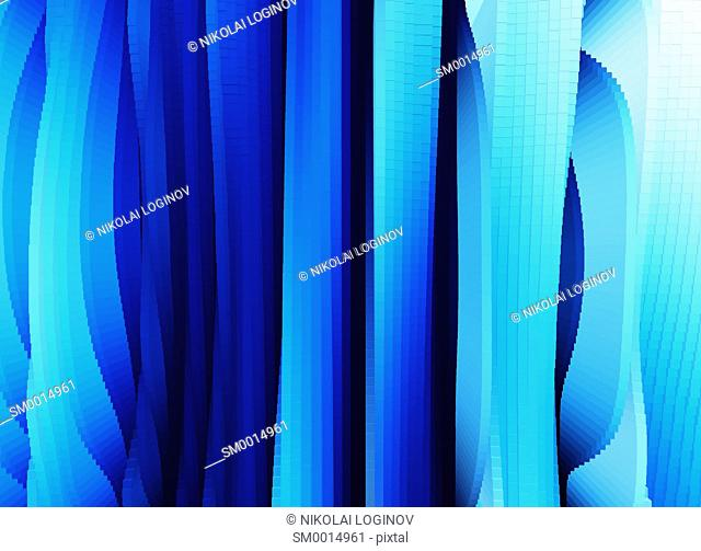 Vertical blue 3d extruded cave walls landscape background