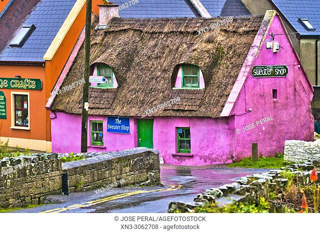 Colourful Buildings at East End of Fisher Street, Doolin Village, County Clare, Ireland, Europe