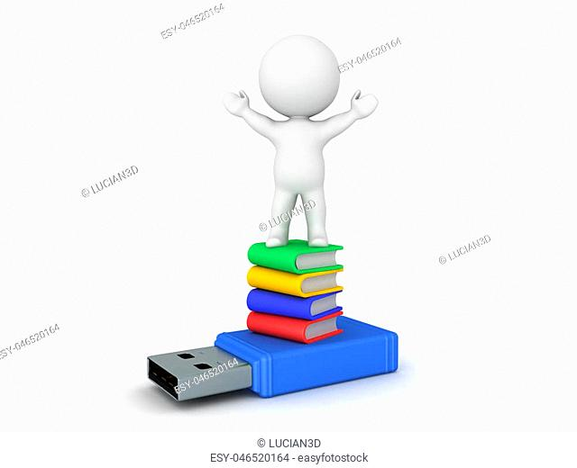 3D Character sitting on top of stack of books and usb stick. Isolated on white