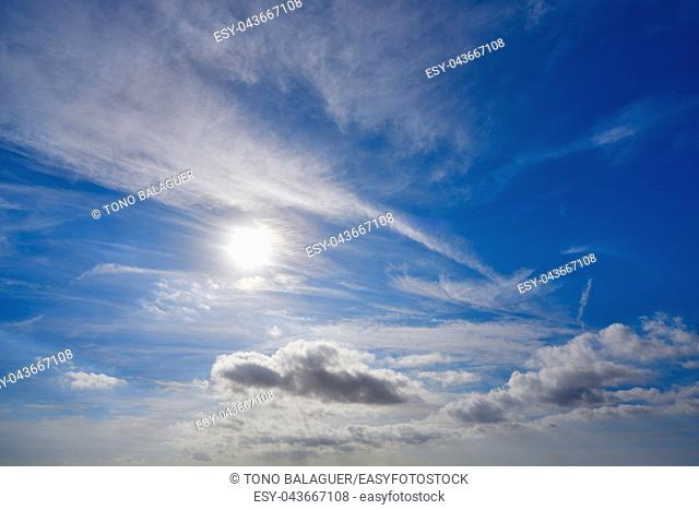 perfect blue sky with clouds