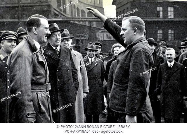 Adolf Hitler 1889-1945. German politician greets German labourers World History Archive