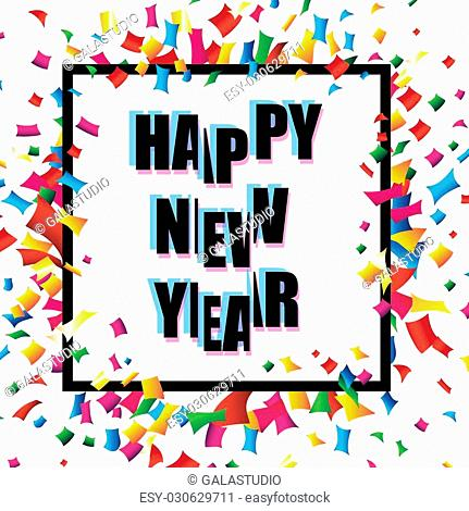 2017 Happy New Year trendy and minimalistic card or background.Modern thin line design concept. Flat