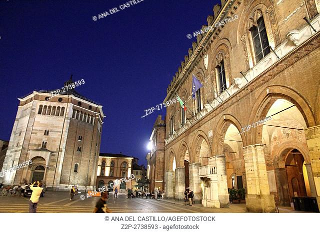 Piazza Duomo or cathedral square by night in Cremona Italy