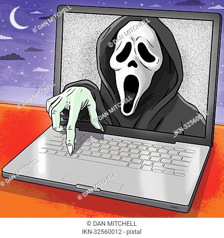 The Scream emerging from laptop monitor