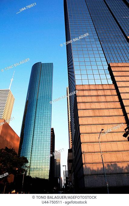Houston mirror skyscrappers. Texas, USA