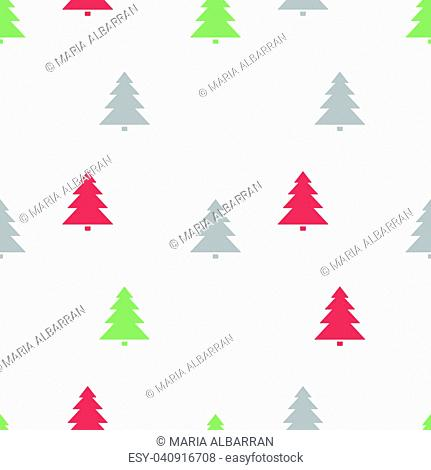 Christmas seamless pattern with colored trees on a white background. Vector illustration