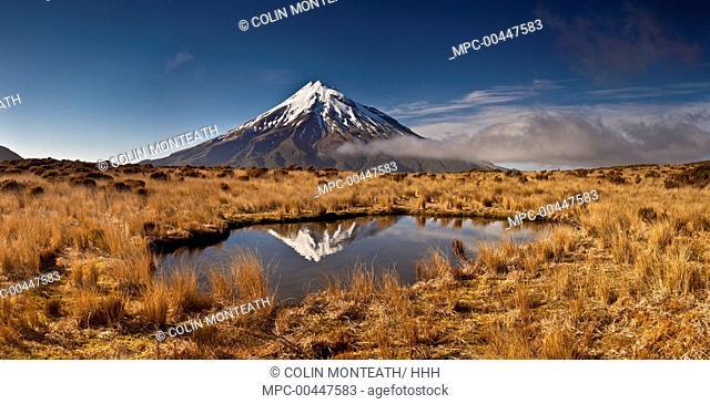 Mount Taranaki reflected in small tarn on slopes of Pouakai Range, New Zealand