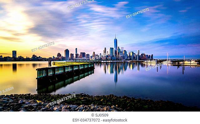 Sunrise in Manhattan, shot from Jersey City, across the Hudson river