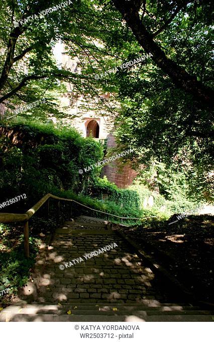Walking path, Castle Heidelberg in Germany, Europe