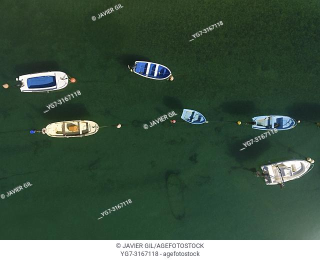 Boats in the estuary of Plentzia, Bizkaia, Basque Country, Spain