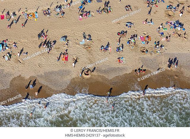 France, Vendee, Saint Gilles Croix de Vie, swimmers on Grande Plage beach in summertime (aerial view)