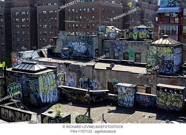 Rooftops in the New York neighborhood of Chinatown are covered with graffiti