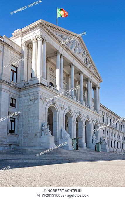 Facade of parliament building, Lisbon, Portugal