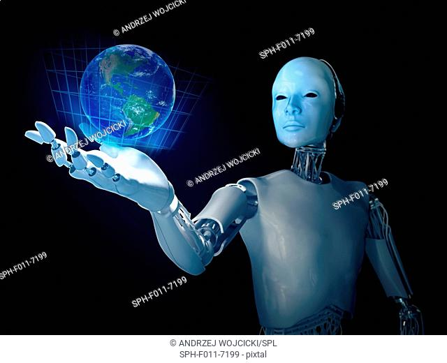 Robot holding the planet Earth, computer illustration