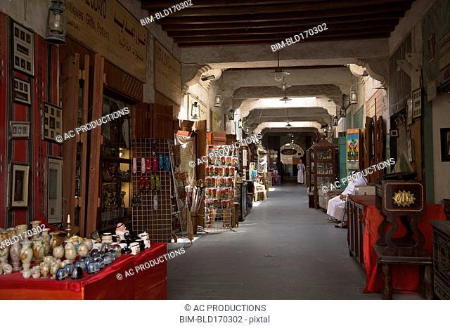 Empty hallway of indoor market