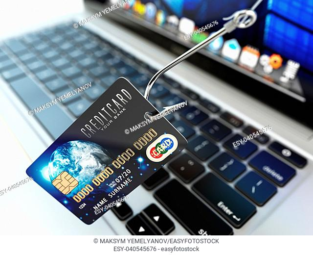 ?redit card phishing concept. Hook with credit card and laptop computer keyboard. 3d illustration