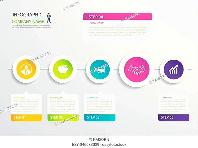 5 step circle timeline infographic options template with paper sheets. Vector abstract element can be used for business workflow layout, diagram, web design