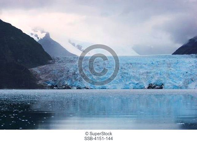 Reflection of a glacier in water, Amalia Glacier, Bernardo O'Higgins National Park, Patagonia, Chile