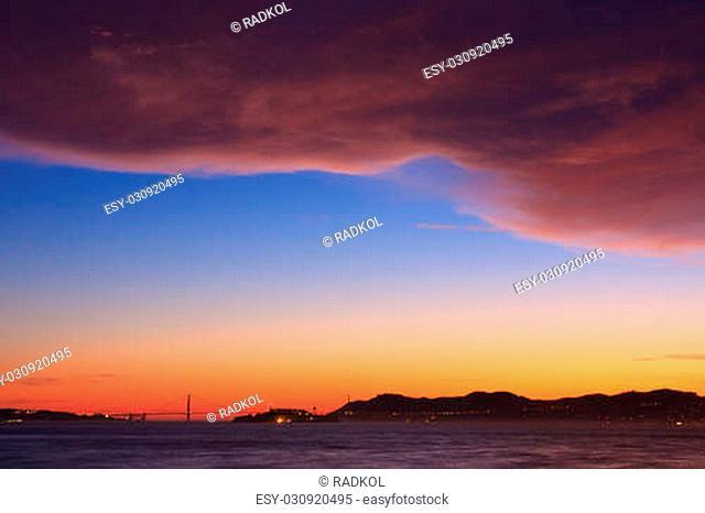Sunset over San Francisco Bay, seen from Treasure Island