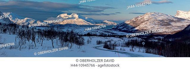 Bellvik, mountains, Europe, Kaldfjorden, scenery, landscape, nature, Norway, snow, Scandinavia, Tromsö, winter, panorama, mountains, sea, fjord