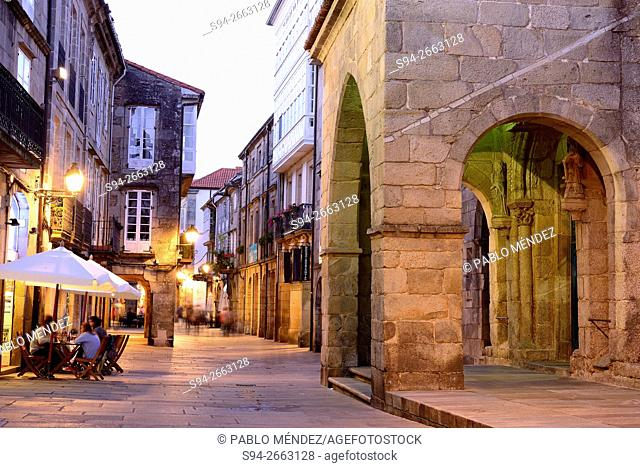 Church entrance in the center of the city. Santiago de Compostela, A Coruña, Galicia, Spain
