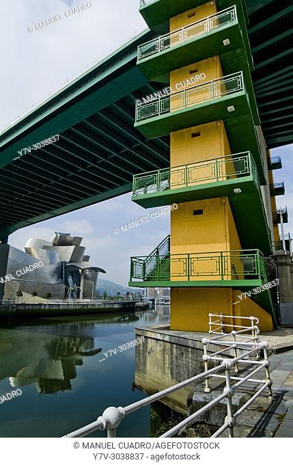 Deusto Bridge from Paseo del Campo Volantín. Bilbao, Vizcaya, Basque Country, Spain