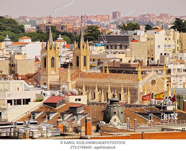 Spain, Madrid, Elevated view towards the San Jeronimo el Real Church