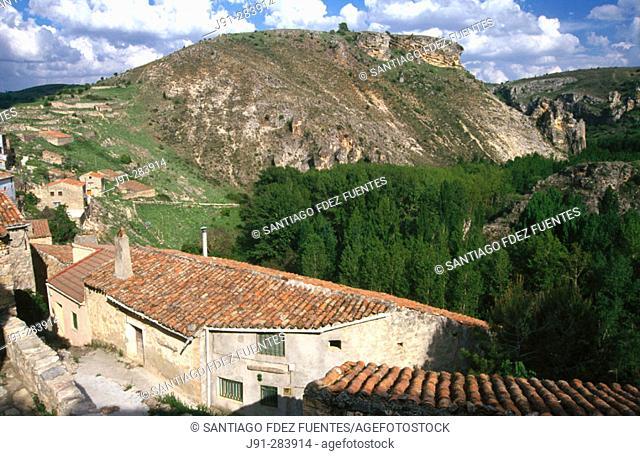 Pelegrina town and  'Hoces del Rio Dulce' (Rio Dulce Sickles). Guadalajara province. Spain
