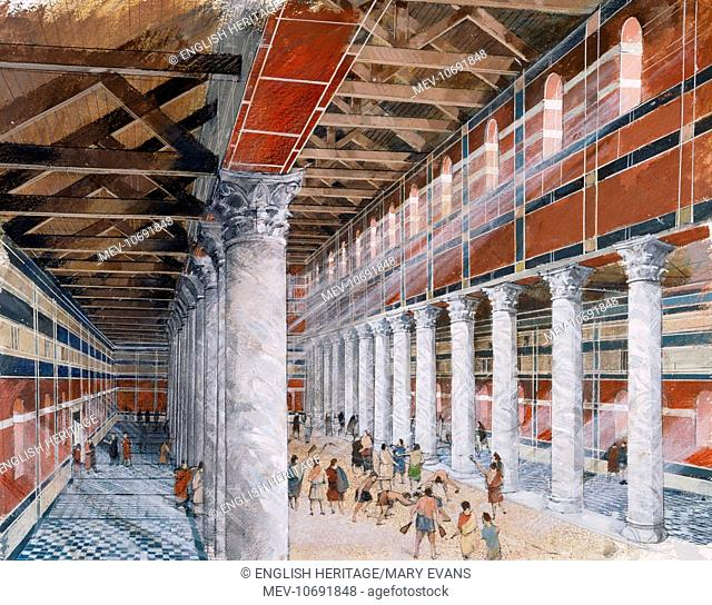 Wroxeter Roman City, Shropshire. Reconstruction drawing of the interior of the baths basilica by Ivan Lapper