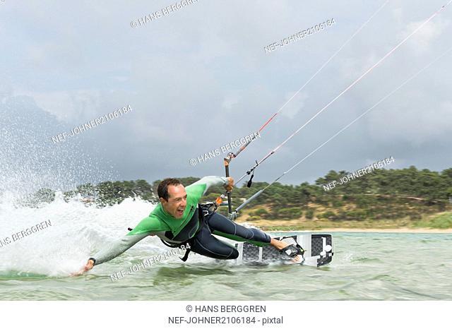 Man kiteboarding