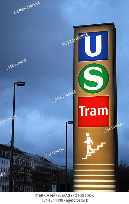 Entrance to the new Metro station at Karlsplatz in Munich
