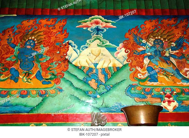 Wall painting of Mt. Everest Chomolungma with two burning demons at each side Rongbuk Monastery Tibet China