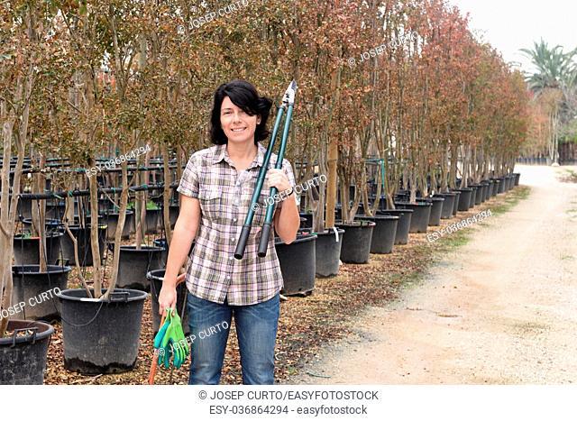 woman working in a gardening center
