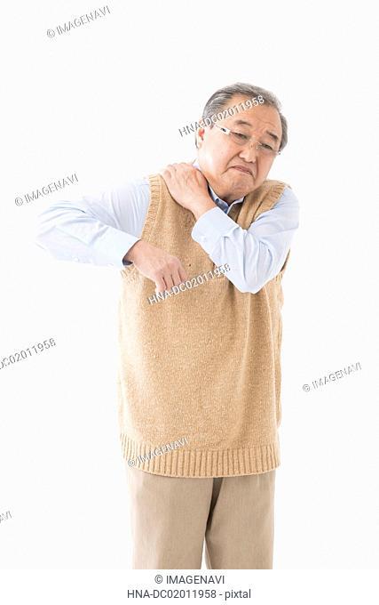 Senior man with shoulder pain