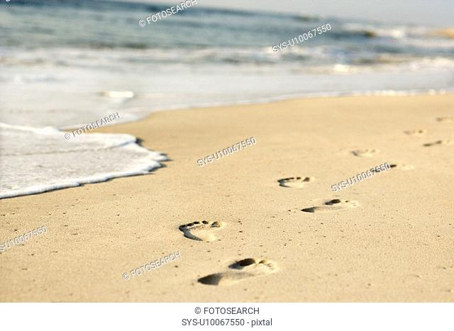 Scenic sandy coastline with footprints and waves