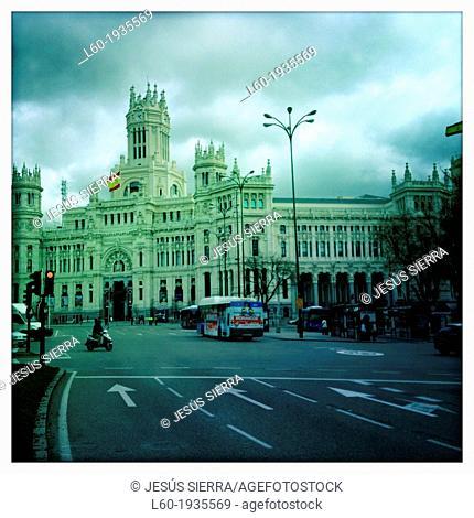 Ayuntamiento, Palacio de Comunicaciones at La Cibeles square, Madrid, Spain