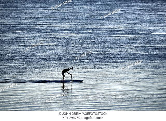 Paddle boarding in Chatham Harbor, Cape Cod, Massachusetts, USA