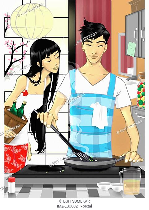 A man making dinner while a woman looks on